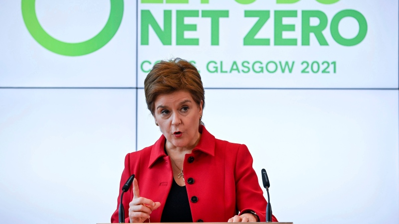 Scotland's First Minister Nicola Sturgeon delivers a keynote speech in the Technology and Innovation Centre during a visit to the University of Strathclyde, Glasgow on Oct. 25, 2021. (Jeff J Mitchell/Pool Photo via AP)