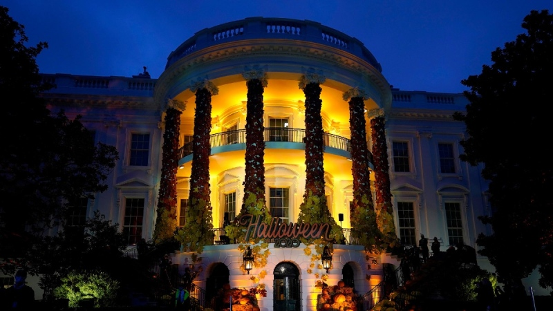 In this October 2020 photo, the South Lawn of the White House is lit during a Halloween celebration. (Manuel Balce Ceneta / AP)