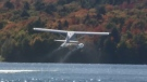 Glassy Bay Outfitters' float plane takes off in Elliot Lake. (Alana Pickrell/CTV Northern Ontario)
