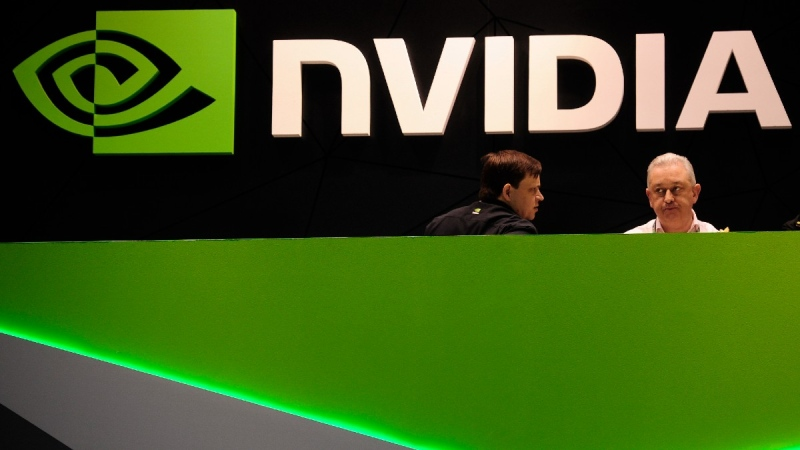 Nvidia booth at the Mobile World Congress mobile phone trade show in Barcelona, Spain, on Feb. 27, 2014. (Manu Fernandez / AP)