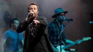 Dierks Bentley performs on the final day of the NFL football draft Saturday, April 27, 2019, in Nashville, Tenn. (AP Photo/Mark Humphrey)