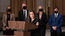 Deputy Prime Minister and Minister of Finance Chrystia Freeland speaks during a news conference with other ministers, Tuesday, October 26, 2021 in Ottawa. THE CANADIAN PRESS/Adrian Wyld