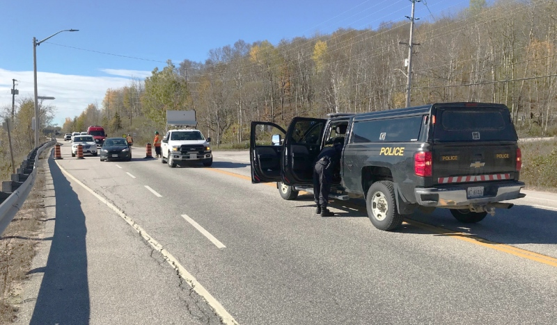 Highway 63 in North Bay is closed Wednesday following a fatal motor vehicle collision, Ontario Provincial Police said. (Jaime McKee/CTV News)