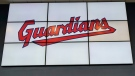 The logo of the Cleveland Guardians is pictured on Friday, July 23, 2021, in Cleveland. (AP Photo/Tony Dejak)