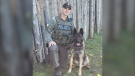 OPP K9 Bauer and his handler PC B. Anderson (Supplied)