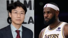 'Squid Game' creator Hwang Dong-hyuk, left, responds to LeBron James, right, disliking the show's end. (Getty Images)