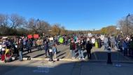 Demonstrators outside the Saskatchewan Legislative Building on Oct. 27, 2021. (Gareth Dillistone/CTV News)