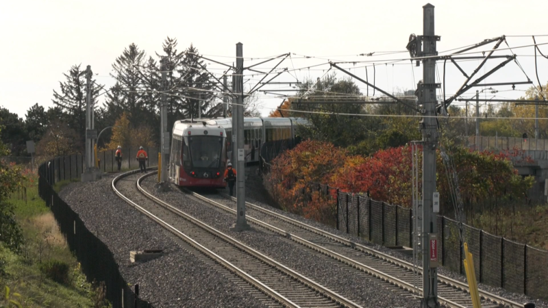 An Ottawa LRT car is on the track for the first time since the Sept. 19 derailment. (Jeremie Charron/CTV News Ottawa)