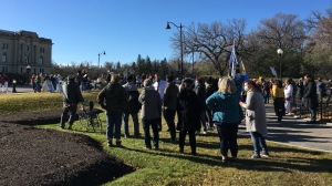 Protestors gathered at the Saskatchewan Legislative Building to call on the province to reverse recent changes to social assistance. (Taylor Rattray/CTV News)