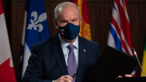 Conservative Leader Erin O'Toole leaves a news conference on Parliament Hill, Wednesday, October 27, 2021 in Ottawa. THE CANADIAN PRESS/Adrian Wyld