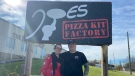 Natacha and Joe Ward standing outside the factory location in Pembroke, Ont. where Joe's Family Pizzeria take-home pizza kits are made. (Dylan Dyson/CTV News Ottawa)