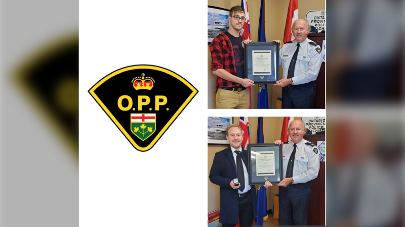 Top: Deacon Ross is pictured with Inspector Glenn Miller, (Essex County OPP Detachment Commander), Bottom: Carter Faust is pictured with Inspector Glenn Miller. (Courtesy Essex County OPP)