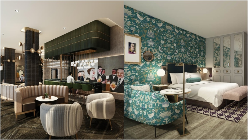 Renderings show the inside of The Dorian hotel in downtown Calgary, opening in 2022. (thedorian.ca)