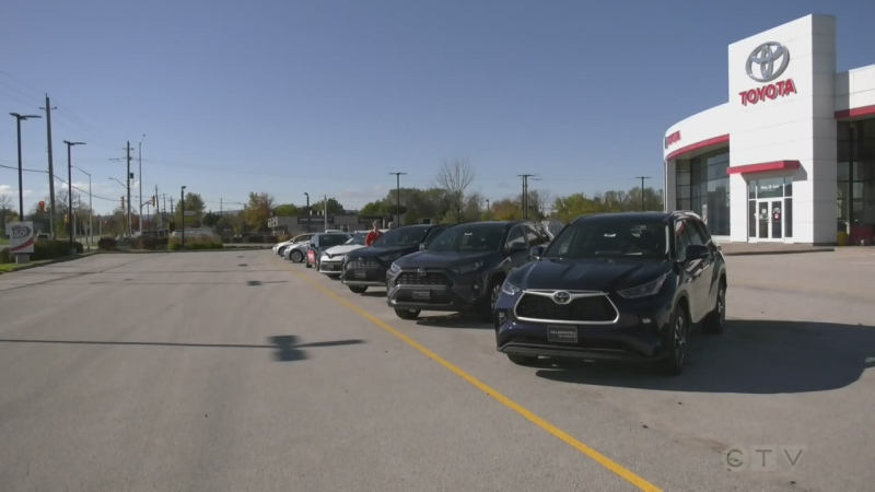 Collingwood Toyota's dealership lot is short on new vehicles because of a global microchip shortage. Wed., Oct. 27, 2021 (Katelyn Wilson/CTV News)