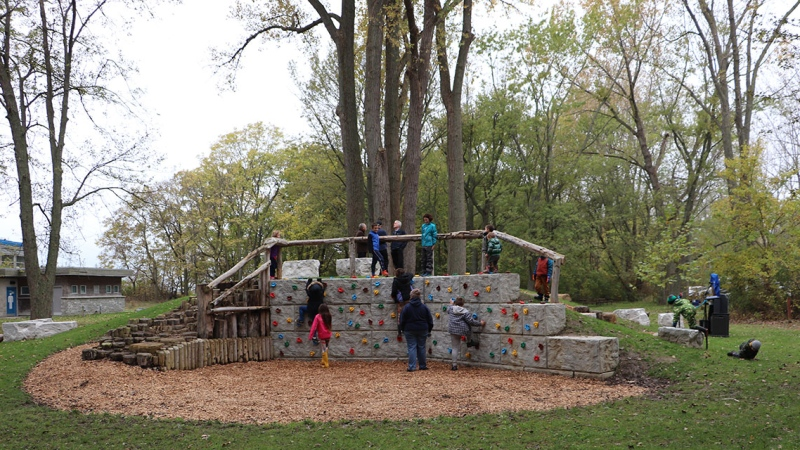 A new natural playground opened at Holiday Beach Conservation Area in Amherstburg, Ont. on Wednesday, Oct. 27, 2021. (Courtesy Essex Region Conservation Authority)