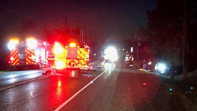 A two-vehicle collision closed a section of Kossuth Road in Cambridge on Wednesday night. (CTV Kitchener)