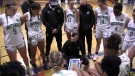 Southwest Basketball Academy Founder and Women's Head Coach Rob Angione talks to his team on Saturday during a game against Ottawa, Oct. 23,2021. (Brent Lale / CTV News)
