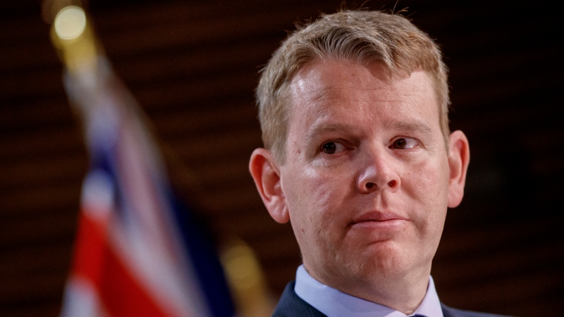 New Zealand COVID-19 Response Minister Chris Hipkins addresses a press conference at Parliament in Wellington, New Zealand Monday, Oct. 11, 2021. (Robert Kitchin/Pool Photo via AP)