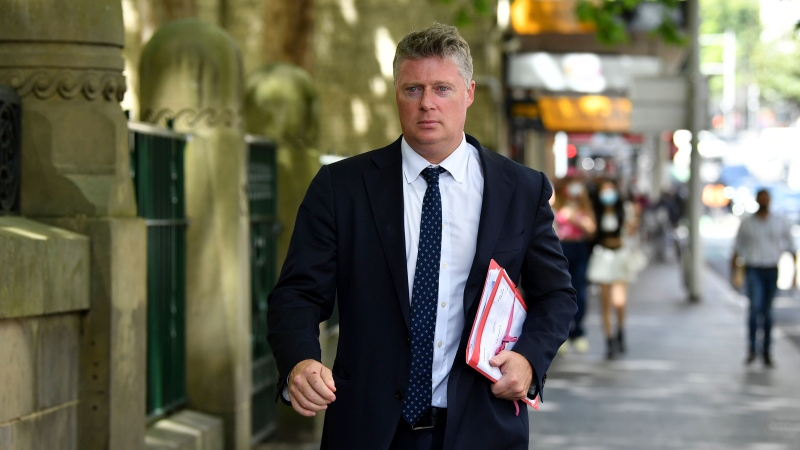 Lawyer Paul McGirr arrives at Central Local Court in Sydney, Thursday, October 28, 2021. (AAP Image/Joel Carrett)