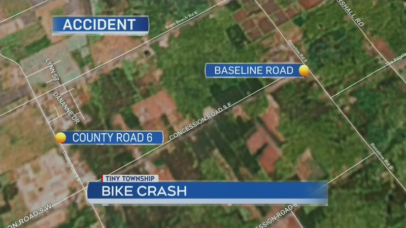Cyclist critically injured in Tiny Township
