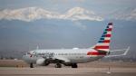 An American Airlines jetliner at Denver International Airport, on April 1, 2020. (David Zalubowski / AP)