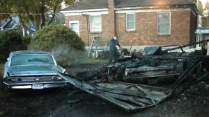 Ottawa fire crews battled a two-alarm fire in a detached garage at a home on Dawson Avenue Thursday morning. (Jim O'Grady/CTV News Ottawa)