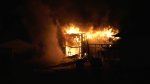 A fire broke out around 10:30 p.m. near 164 Street and 105 Avenue on Oct. 27, 2021.