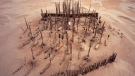An aerial view of the Xiaohe cemetery, where the mummified bodies were found in the Tarim Basin in Xinjiang, northwestern China. (Wenying Li, Xinjiang Institute of Cultural Relics and Archaeology/CNN)