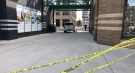 Police tape blocks an alley off Richmond Street north of Pall Mall Street in London, Ont. on Thursday, Oct. 28, 2021. (Jim Knight / CTV News)