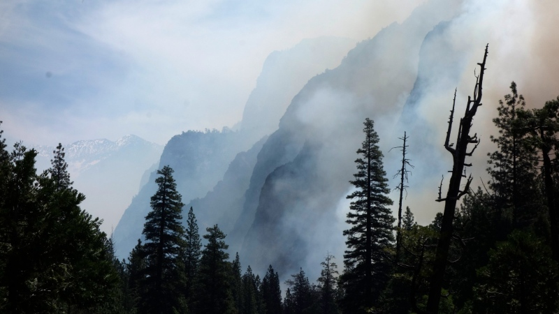 Canyon walls are shrouded with smoke from a prescribed burn in Kings Canyon National Park, Calif. on June 11, 2019. (AP Photo/Brian Melley, File)