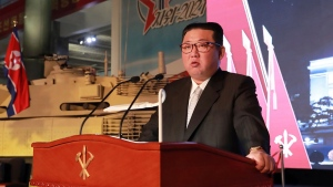 North Korean leader Kim Jong Un speaks during an exhibition of weapons systems in Pyongyang, on Oct. 11, 2021. (Korean Central News Agency / Korea News Service via AP, File)