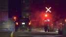 Provincial police investigate a fatal collision involving a pedestrian and train in Oro-Medonte, Ont. on Wed., Oct. 27, 2021 (Steve Mansbridge/CTV News)