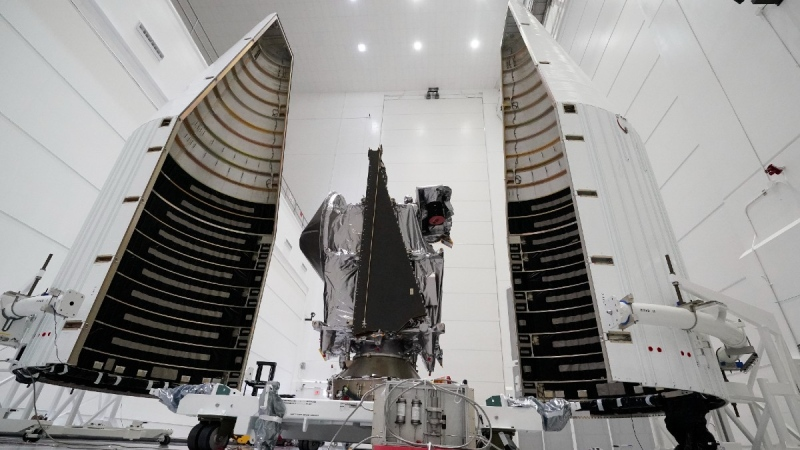 NASA's Lucy spacecraft at the AstroTech facility in Titusville, Fla., on Sept. 29, 2021. (John Raoux / AP)