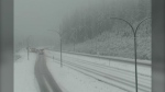 Snow seen at Coquihalla Summit on Oct. 28, 2021. (DriveBC highway camera)