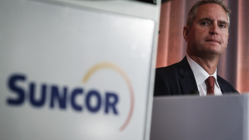 Suncor president and CEO Mark Little prepares to address the company's annual meeting in Calgary, Thursday, May 2, 2019. (THE CANADIAN PRESS/Jeff McIntosh)