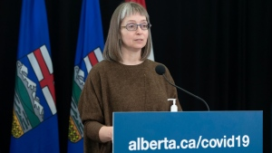 Alberta's chief medical officer of health Dr. Deena Hinshaw provided, from Edmonton on Thursday, October 21, 2021, an update on COVID-19 and the ongoing work to protect public health. (photography by Chris Schwarz/Government of Alberta)