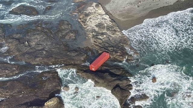 One of the lost shipping containers that came ashore near Cape Scott Provincial Park. (Canadian Coast Guard)