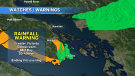 The rainfall warning was issued Thursday: (CTV News)