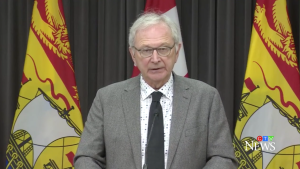 New Brunswick Premier Blaine Higgs provides an update on COVID-19 at a news conference in Fredericton on Oct. 28, 2021.