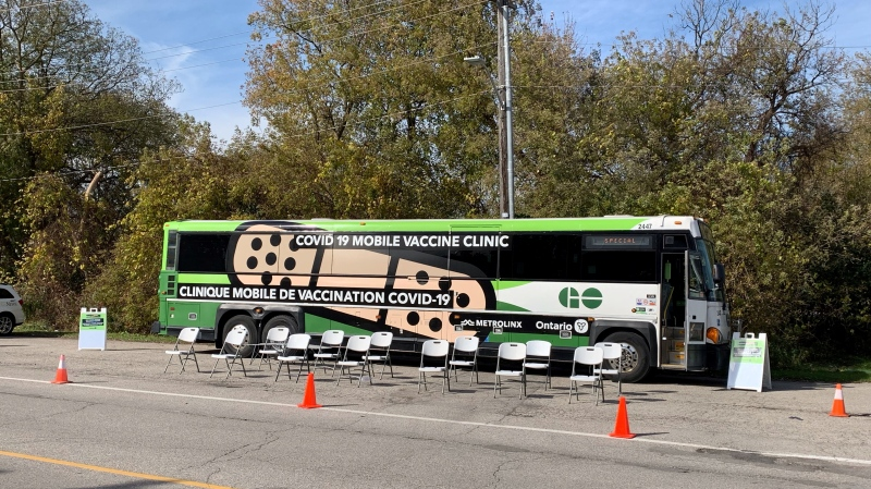The GO-VAXX buss made a stops in Oxford County on Oct. 28, 2021. (Bryan Bicknell /  CTV News)