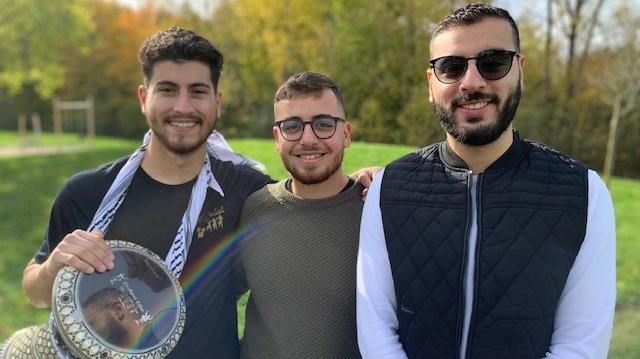 Three members of the Al-Asala Dabke Group in London, Ont., from left, Wasef Yasin, Omar Barzak and Omar Hassouneh. (Reta Ismail / CTV News)