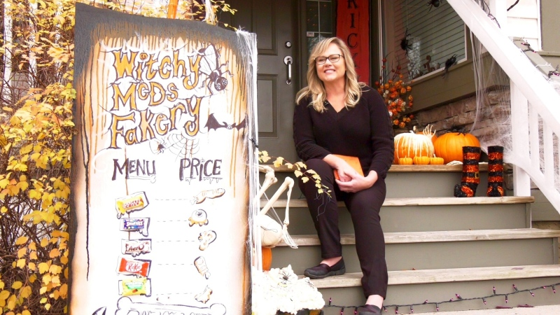 The theme in front of Michelle McDougall 's home in southeast Calgary is 'the fakery,' a play on bakery inspired by the story of Hansel and Gretel.