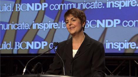 B.C. NDP leader Carole James addressed delegates at the Westin Bayshore Hotel in Vancouver. Nov. 28, 2009. (CTV)