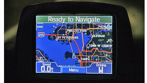 A Garmin GPS unit is shown inside a vehicle in Tampa, Fla on Aug. 27, 2008. (AP/Chris O'Meara)