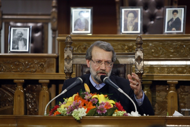 Iranian parliament speaker Ali Larijani, seen, during a press conference in the parliament, in Tehran, Iran, Monday, Nov. 30, 2009. (AP / Vahid Salemi)