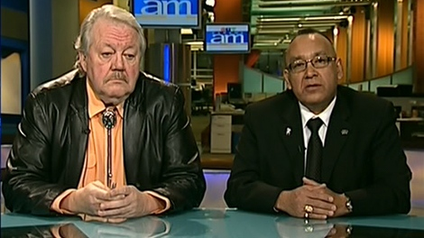 Wayne Helgason from the Centre for Aboriginal Human Resources and Ron Evans, grand chief of the Assembly of Manitoba Chiefs, appear on Canada AM from CTV studios in Winnipeg, Wednesday, Dec. 2, 2009.