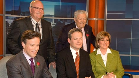 CTV's Max Keeping (back row, right) just after his retirement announcement. He is joined by (from left to right) CTV�s Terry Marcotte, J.J. Clarke, Graham Richardson and Carol Anne Meehan.