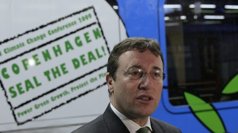 Achim Steiner, director of the UN Environment Program reacts during an interview prior to boarding the Climate Express in Brussels, Belgium, Saturday Dec. 5, 2009. (AP / Peter Dejong)
