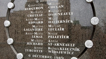 A commemorative plaque bears the names of the 14 women killed at Montreal's Ecole polytechnique on December 6, 1989. (THE CANADIAN PRESS/Paul Chiasson)