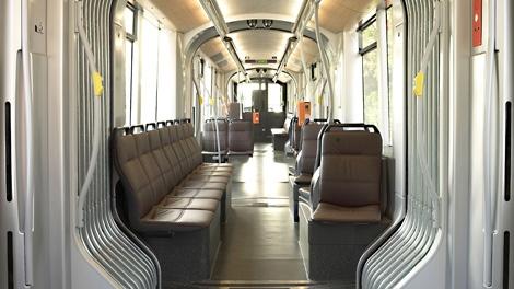 The interior of a Flexity streetcar. Dec. 7, 2009. (Bombardier)